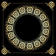 black background with golden floral frame - vector