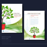 template for ecology concept flyer with plant