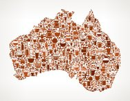 Australia Map royalty free vector Coffee Background Graphic