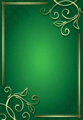floral decorative green frame with gold decorations - vector