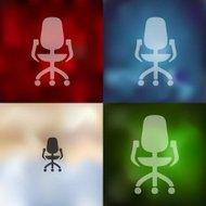 office chair icon on blurred background