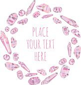 Background and card with circle of pink crystals