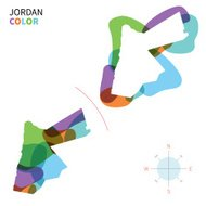 Abstract vector color map of Jordan with transparent paint effec