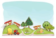 Organic farm background 'Happy world' collection