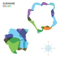 Abstract vector color map of Suriname with transparent paint eff