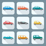 colored flat style various body types of cars icons collection
