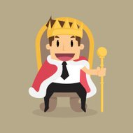businessman is sitting on the throne like a king