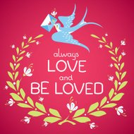 Greeting Valentine's day or wedding card with swallow