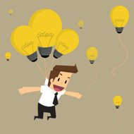 businessman fly with idea bulb balloon