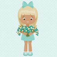 Little girl with bouquet of forget-me-nots