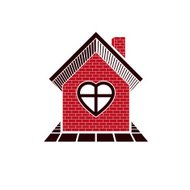 Family house abstract icon, harmony at home concept. Building