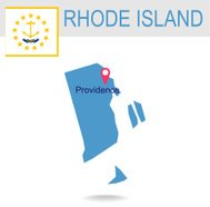 USA state Of Rhode Island's map and Flag