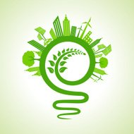 Ecology concept - eco cityscape with light-bulb and leaf icon