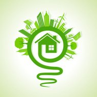 Ecology concept - eco cityscape with light-bulb and home icon