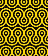 Black and yellow seamless pattern with decorative abstract shape