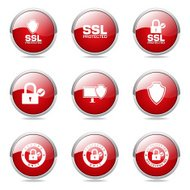 Protection Web Internet Red Vector Button Icon Design Set