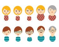 Profile flat heads. Men, woman aging. Generation growing up icon.