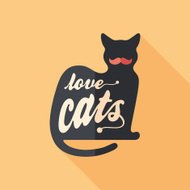 Love cats flat square icon with long shadows.