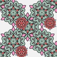 Japanese pattern. Ornamental styled small red and big green mand