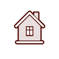Simple village mansion icon, abstract house depiction.