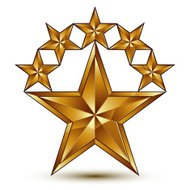 Glamorous vector template with pentagonal golden star symbol