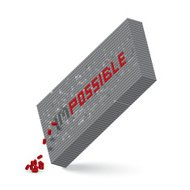 impossible word in 3D block wall illustration