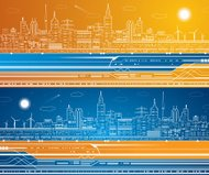 Vector lines train, train on the background of the light city