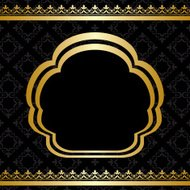 golden ornament on black background with center frame - vector