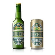Green beer bottle and golden can, with labels