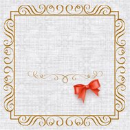 Invitation card with vintage elements and bow