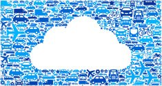 White Cloud On Transportation royalty free vector art Pattern
