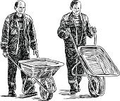 workers with wheelbarrows