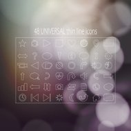 forty-eight universal thin line icons for business