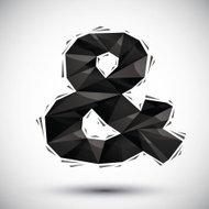 Black ampersand geometric icon made in 3d modern style