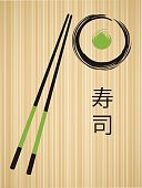 Vector Sushi Roll and Chopsticks Illustration with Sushi Japanese Symbol