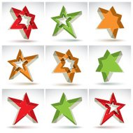 Set of 3d mesh stars isolated on white background, collection