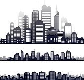 Vector city silhouette isolated on white