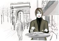 Pretty woman having a lunch at the Champs-Elysees in Paris