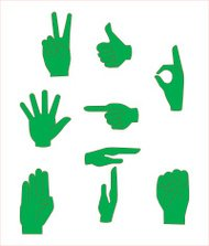 Diverse hand signs in vector format