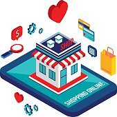 Flat 3d isometric design concept Shopping and e-commerce