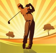 Golf Player in Orange and Brown