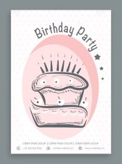 Birthday party celebration flyer or banner.