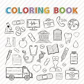 Vector coloring book.Medical set