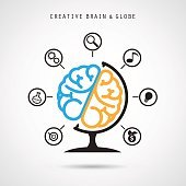 Creative brain abstract vector logo design and infographics template.