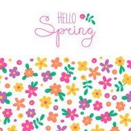 Sizon card Hello Spring with cute flowers