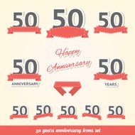 Fifty years anniversary icons collection