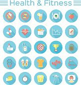 Modern Flat Fitness and Wellness Icons
