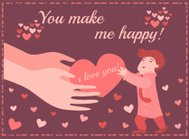 Hand giving a heart of love on Valentine's day