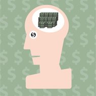 Man and money in head concept