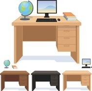 Wood desk for pupil and student set of illustrations